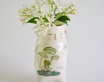 Ceramic pot, illustrated pottery, planter, cache pot, OOAK,