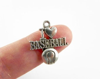12 I Love Baseball Charms in Antiqued Silver - 21mm x 18mm