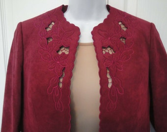 Vintage Ultra Suede Suit, Scalloped Edge, Laser cut floral design on front & cuffs of full length sleeves, 35 inch bust, Rich burgundy color