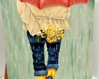 Walking in the Rain Canvas Oils