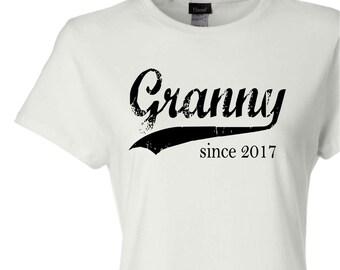 Granny since ANY year, screen print t-shirt, custom womens fitted tee, new grandma gift, grandmother gift, Christmas gift