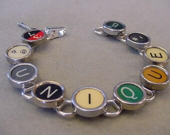 Typewriter key Bracelet - Spells UNIQUE Colorful Typewriter key Jewelry