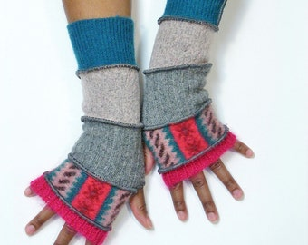 Fingerless Gloves, Armwarmers, Patchwork gloves,( Deep Pink/Stripe Pattern/Grey/Mauve/Deep Turquoise)