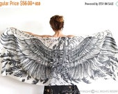 SALE Valentines Gift, Large Scarf, Hippie Scarf, Gift for Her, Wings Shawl, Cotton Sarong, Boho Bride, Abstract Scarf, Women Shawl, Pattern