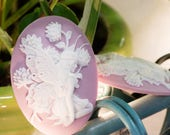White Fairy on Purple Cameo Acrylic Cabochons 40x30mm (2) cab842H