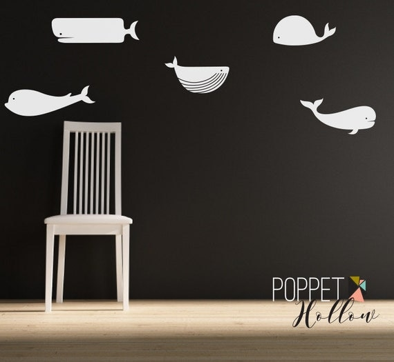 Ocean Under the Sea Whale Wall Decal - Vinyl Whale Children's Bedroom Wall Art Room Decor Sticker - CS100A