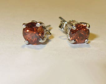 Hyacinth Red-Orange Zircon Stud Earrings in Solid Sterling Silver - Gorgeous Clean Natural Gemstones