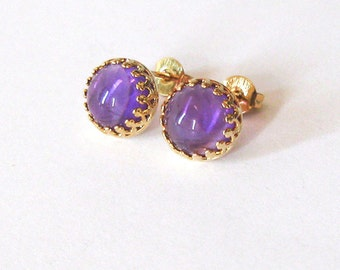 Amethyst Gemstone Earrings Gold Vermeil .925 Sterling Silver Filigree Post Settings, 8mm Cabochons Gemstone Studs February Birthstone