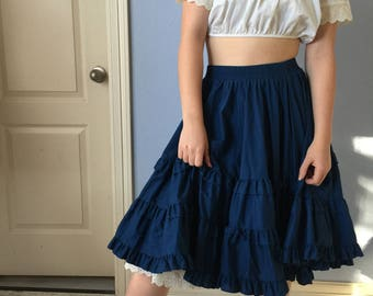 Vintage Square Dancing Skirt -Rockabilly Circle Skirt - Ruffled Navy Blue Elastic Waist Partners Please Malco Modes