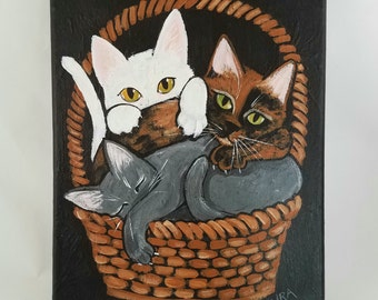 Kitten Painting ~ Original Cat Art ~ Cat Art ~ Canvas Acrylic Painting ~ Contemporary Folk Art ~ White Cat ~ Gray Cat ~ Tortoiseshell Cat