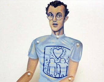 Keith Haring Articulate Paper Doll - Paper Puppet - DIY Printable PDF - 80's