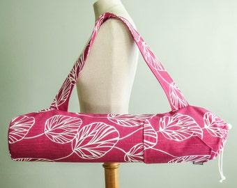 Yoga Mat Bag. Modern Yoga Bag Pink with White Leaves. Yoga Mat Holder. Unique Yoga Gift. Womens Yoga Mat Bag with Pocket. Yoga Mat Carrier
