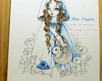 Blue Poppies - Instant Download Digital Stamp / Animal Rabbit Bunny Poppy Flower Fantasy Fairy Girl by Ching-Chou Kuik