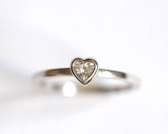 Diamond Heart Ring, Sterling Silver, Diamond Solitaire Ring, Handmade Diamond Ring, Diamond Stacking Ring, engagement, Brighton, uk