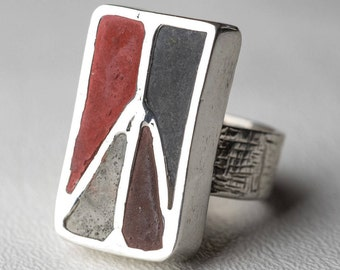 Peace Sign Ring Concrete Rectangle Sterling Silver Peace Boho Chic One Of A Kind