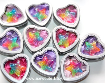 Colorful Rainbow Star Necklace ...Catch a Falling Star Like Mermaid Treasures ...bright rainbow glitter resin jewelry handmade by isewcute