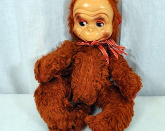 Vintage Plush Monkey with Plastic Face