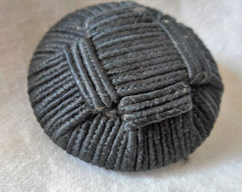 VINTAGE Black Fabric Thread Back BUTTON
