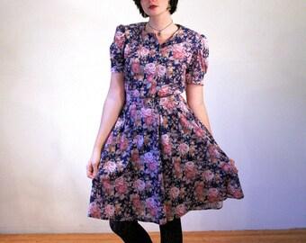 Jenny, 80s Dress, Jersey Knit Blue Rose Print Dress, Floral Grunge Dress, Knee Length Floral Dress, M