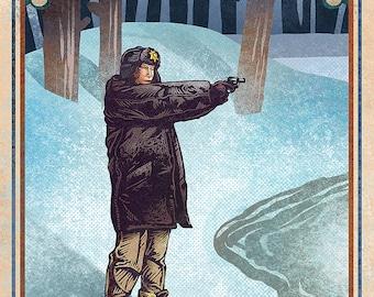 """Fargo Matchbox Art- 5"""" x 7"""" signed matted print"""