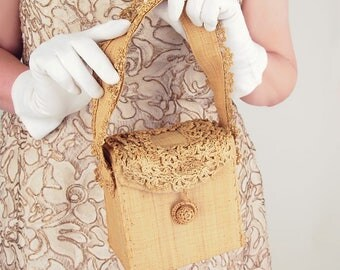 50s Natural Straw Box Bag with Crocheted Trim - Made in Italy