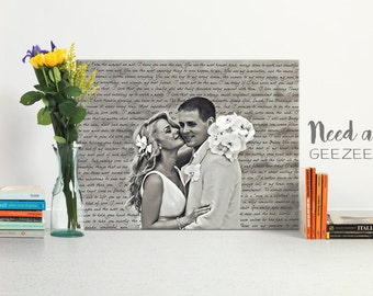 Wedding Gift First Dance Lyrics/ Custom Canvas / Your Wedding Photo with your Lyrics/ Vows/ Love Story