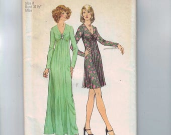 1970s Vintage Sewing Pattern Simplicity 6024 Misses High Waisted V Neck Slinky Maxi Dress Long Sleeves Size 8 Bust 31 1/2 1973 70s UNCUT