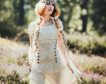 MISTRESS STEAMPUNK CORSET - Pirate Cabaret Steam punk Burlesque Renaissance Victorian Organic Wedding Bride Gypsy Witch Goa - Off white