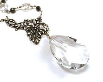 Chandelier crystal statement necklace, clear crystal and silver with hematite