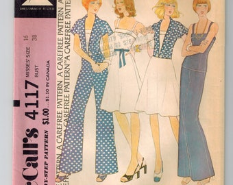 Vintage 70s Misses Skirt Top Pants and Jacket Sewing Pattern Size 16 Bust 38 Pullover Top w/cuff Shoulder Straps Summer Wardrobe Ensemble