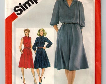 Vintage 80s Misses Pullover Shirtdress Sewing Pattern Bust 32 1/2 Button Front Bodice w/gathers Sleeve Variations Elastic Waist Side Pockets