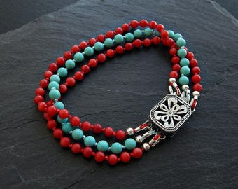 Turquoise and Coral Bracelet: Sterling silver box clasp, silk, stabilized chalk turquoise, red coral, southwest filigree jewelry, 7 inches