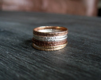 Stacking Rings - Hammered 18 Gauge - Create Your Own Set