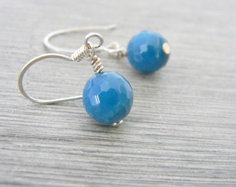 Blue Agate Stone Sterling Silver Earrings