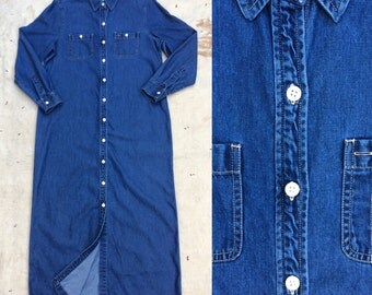 vintage 1990s tencel/cotton blend denim shirt dress / duster