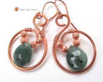 Genuine Emerald Earrings, Green Stones and Copper, Large Boho Dangles, May Birthstone Semi Precious Gemstones, Wire Wrapped Briolettes  E487