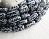 Black and white glass beads, tube lampwork beads, opaque swirl designs,  boho ethnic style Indonesia 8mm x 21 to 24 mm long (6 beads) 6bb6-1