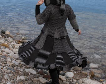 Flourish Grey Small frankensweater upcycled gypsy coat sweater