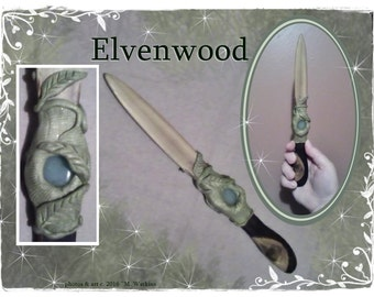 "Athame - Wiccan - Wicca - Pagan - Witch - Wizard - Aventurine Gemstone, Cedar Wood, and Polymer Clay ""Elvenwood"""