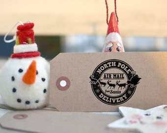 North Pole - Santa Air Mail - From Santa - Gift Tag - Christmas Rubber Stamp