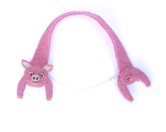 Pig necklace - cute pink jewelry, farm animal, quirky different jewelry, eye catching head and tail necklace