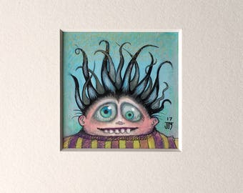 "NEW MINIATURE! ""Blandon Staplecorn"", original miniature mixed media 2"" x 2"" matted to 6x6"" monster, happy scared, black crazy hair, silly"