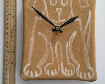 Pottery dog wall decor clock: white black hand painted ceramic rectangle handmade