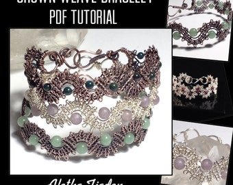 PDF TUTORIAL,Crown Weave Filigree Bracelet, step by step instructions, digital download