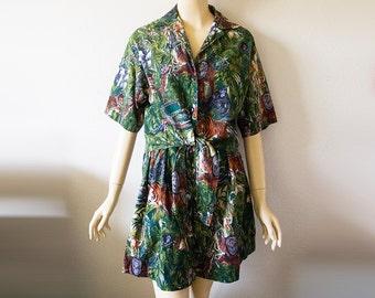 JUNGLE LOVE // Vintage 90s Tropical Print Shirt and Shorts Set Womens Small 2 Piece Set Amazon Beachwear Summer Clothing Safari Shirt Grunge