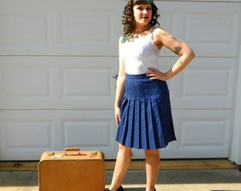 1990s Vintage Navy Pure Wool Pleated Skirt High Waist Pleated Skirt Navy Wool Uniform Skirt Schoolgirl Cosplay Size Small