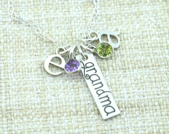 Grandma Necklace -  Personalized Gift For Her - Initial Gift - Personalized Necklace - Birthstone Necklace - Grandmother Gift