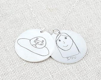 Personalized Your Childs Art Gift - Kids Drawing Necklace - Mom - Personalized Gift - Personalized Jewelry - Custom Handwriting