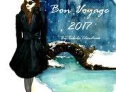 Bon Voyage 2017 Watercolor Fashion Illustration calendar