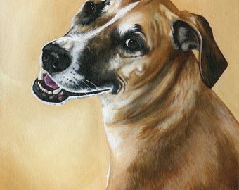 Custom Pet Portrait Painting, Pet Painting of your Dog or Cat from Photograph, custom size 12 x 16, Dog Lover Gift Idea, Pet Lover